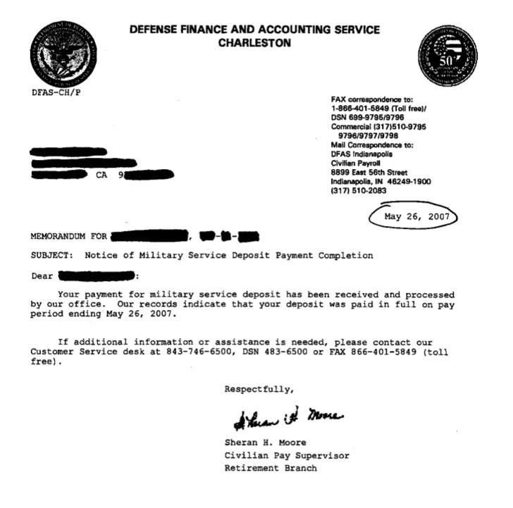 Confirmation of FERS Military Service Credit Deposit