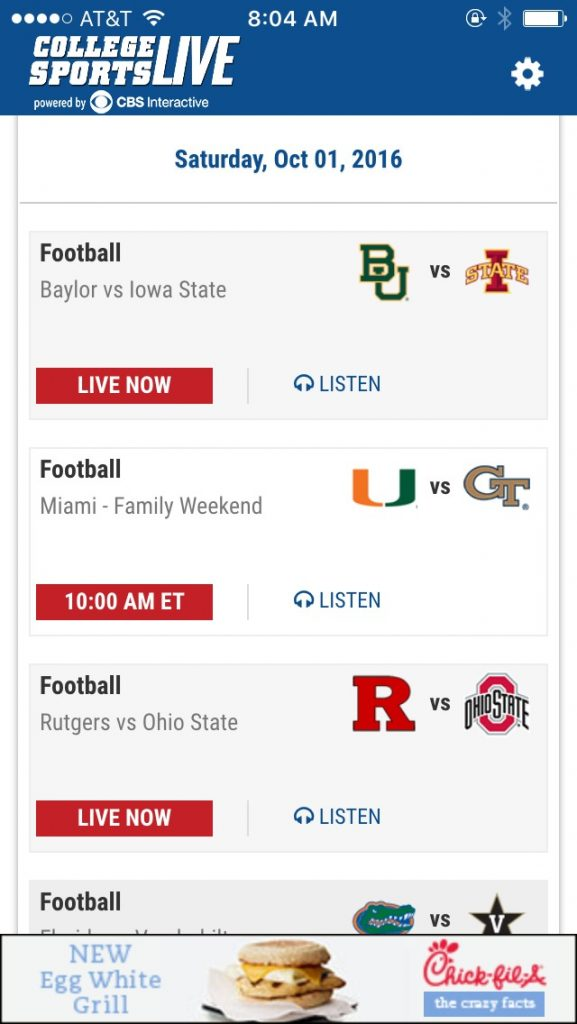 CBS College Sports is NOT Live